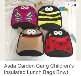 Garden Gang Lunch-Cooler Bag, choice of 4, £2 each or £3 for 2, BNIB,,