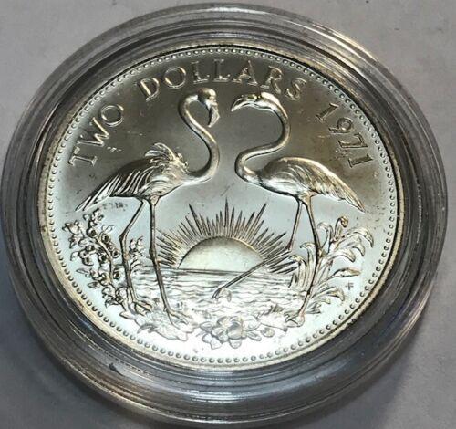 BAHAMAS - Flamingos - $2 - Two Dollars 1971 - Silver BU in Capsule