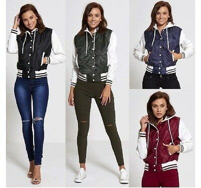 NEW WOMENS LADIES VARSITY BASEBALL QUILTED BOMBER JACKET CASUAL BIKER STYLE COAT