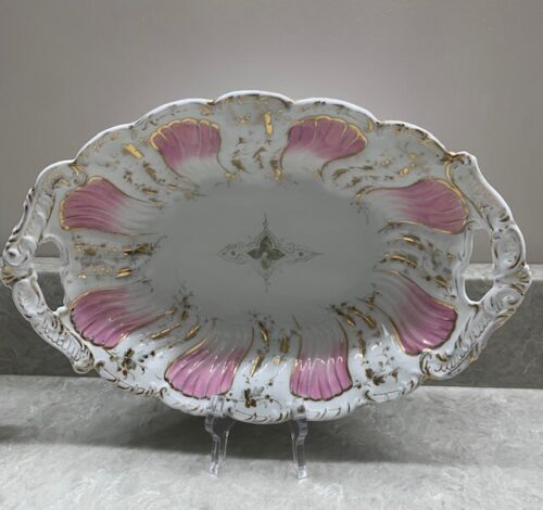 C.T. Germany Carl Tielsch Porcelain Co. Gold Trimmed Scalloped Serving Bowl
