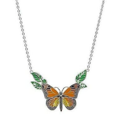 Lenox Butterfly Meadow Necklace Sterling Silver & Enamel BRAND NEW Sterling Silver Enamel Butterfly Pendant