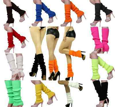 Womens LegWarmers Knitted Knit Neon Dance 80s Costume Pair of Party Leg Warmer (Party Warmers)