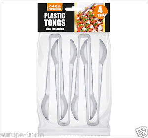 4 Clear Plastic Food Grade Serving Tongs - Perfect for a Party, BBQ, Picnic 6