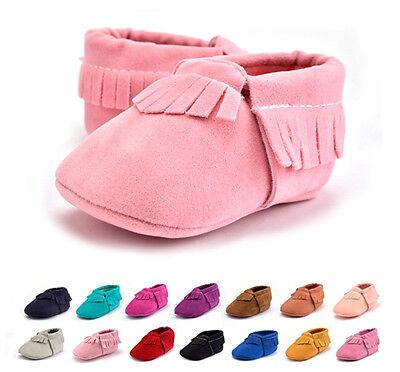 US Seller Baby Soft Sole suede tassel Shoes Infant Boy Girl Toddler Moccasin