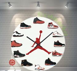 NEW Premium 12 Clock Jordan 1-12 RED DOT 2D Quartz nike supreme off white yeezy