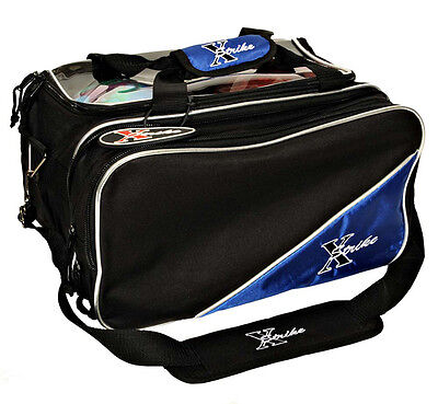 NEW X-STRIKE 2 BALL BLACK/BLUE TOURNAMENT TOTE BOWLING BAG THAT HOLDS SHOES