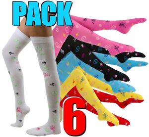 6Pack-Opaque-Stocking-Thigh-High-Hosiery-Extra-Long-Socks-Over-Knee-NWT-Skull-Y1