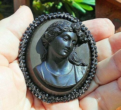Vulcanite Mourning Black Cameo w/ Antique Cut Steel Handmade Bead Trim Double Ro