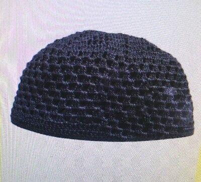 Muslim Kufi Cap Hat Black Beanie African Topi knitted Mens Skull Cap - Black Beanie Cap Hat