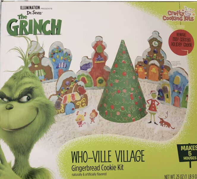 Dr. Seuss The Grinch Gingerbread Cookie Kit Who-Ville Village Makes 5 Houses NEW