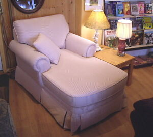 Mauve (pink) Striped Chaise Lounge Chair Made in Canada