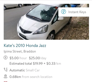 $5HR $25/DAY CAR & UTE HIRE - $15 FREE DISCOUNT Braddon North Canberra Preview