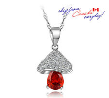 S925 Sterling Silver Red&Clear Cubic Zirconia Mushroom Pendant