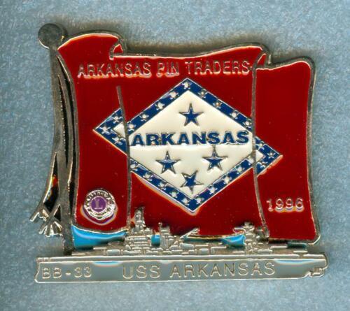 Lions Club Pins -  Pin Trader USS Arkansas BB-33 Battleship Flag