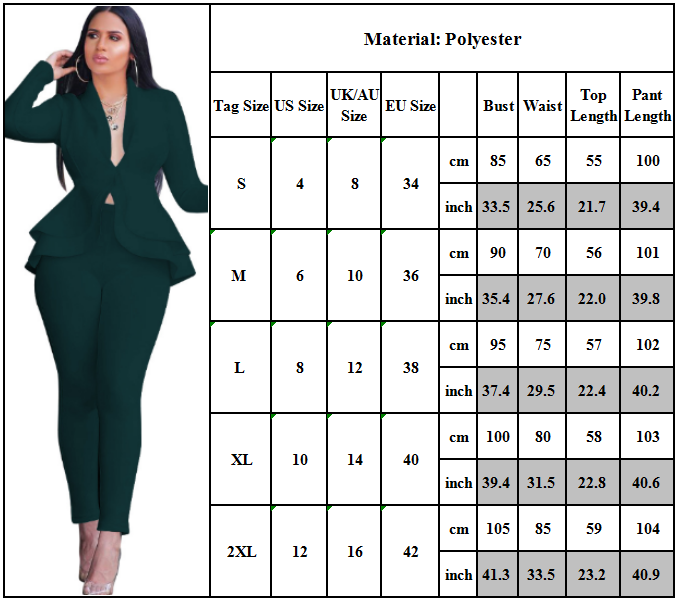 Ladies Ruffle Blazer Suit Jacket Coat Pants Trousers Work Formal Business Office Clothing, Shoes & Accessories