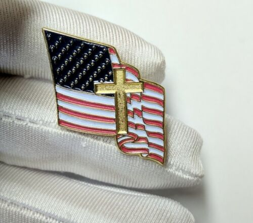 Armor of God American Flag with Cross Lapel Pin