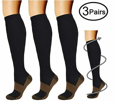 Best Graduated Compression Socks (3Pairs) Black S-XXL 15-20mmHg Men's (Best Compression Garments)