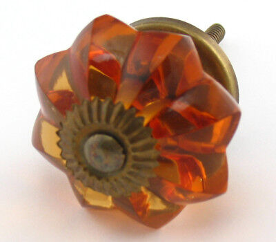 3 Amber Glass Knobs Kitchen Cabinet Drawer Pull Cupboard Melon Handle -