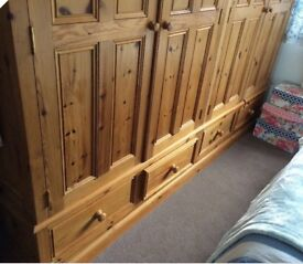 Beautiful, very large, large solid pine wardrobe
