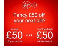 Join virgin media get 50£ off the bill