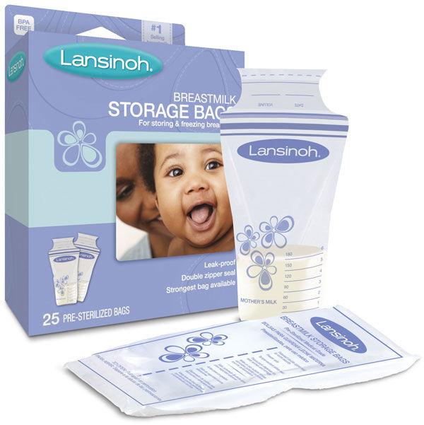 Lansinoh BPA Free Breastmilk Pre-Sterilized Storage Freeze Bags 25 or 100 Pack