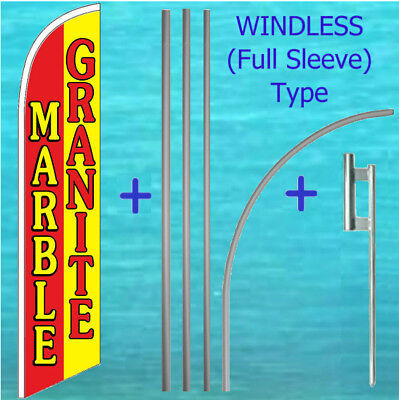 Marble Granite Windless Banner Flag Pole Mount Kit Tall Curved Feather Swooper
