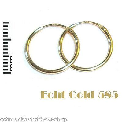 585 ECHT Gold 14 kt Creolen Ohrringe 15 mm Herren Damen Schmuck gestempelt TOP! ()