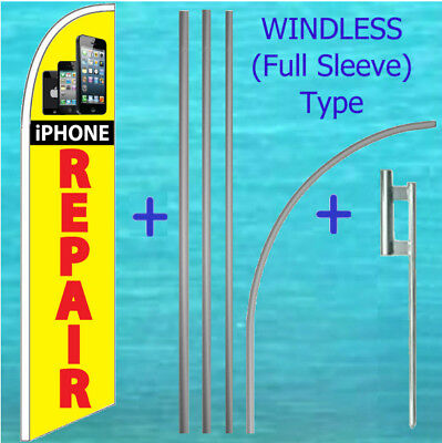 Iphone Repair Windless Banner Flag Pole Mount Kit Tall Curved Feather Sign