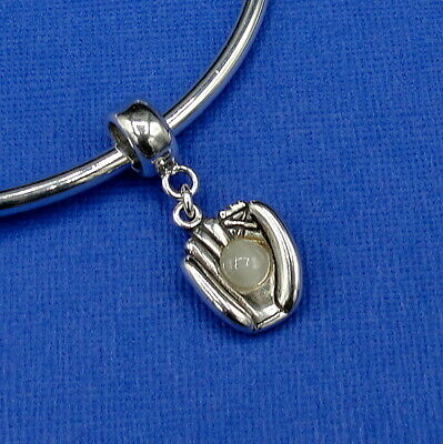 925 Sterling Silver Baseball Catchers Mitt Bead Charm - fits European Bracelets
