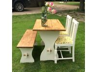 Country style bench pine top table set