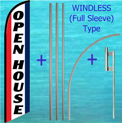 Open House Windless Banner Flag Pole Mount Kit Tall Curved Feather Banner Sign
