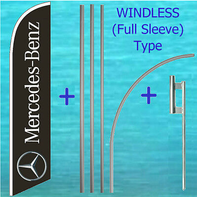 Mercedes Benz Windless Feather Flag Pole Mount Kit Tall Curved Swooper Banner
