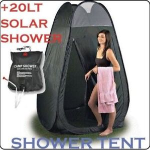 Popup Portable Shower Tent + 20 LT Solar Shower With Compact Carry Bag Camping