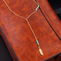 Brand new 18k gold plated bohemian feather necklace