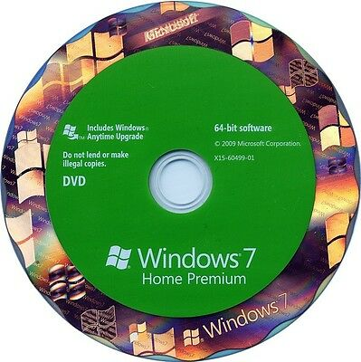Microsoft Windows 7 Home premium SP1 64bit Full Version DVD and Product Key COA