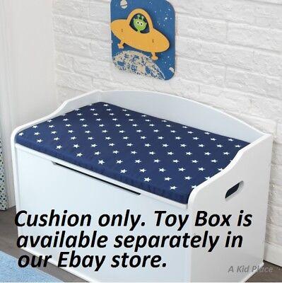 Blue Toy Chest (KIDKRAFT AUSTIN TOY BOX STORAGE CHEST SEAT CUSHION - NAVY BLUE / WHITE STARS)