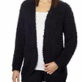 NEW KENZIE eyelash knit supersoft black cardigan size L NWT