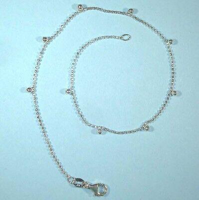 Anklet Delicate STERLING SILVER .925 NEW Beads Designer Look Ankle Bracelet USA