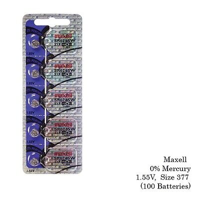 Maxell 377 Sr626sw Silver Oxide Watch Batteries (100 Batt...