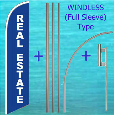 Real Estate Windless Banner Flag Pole Mount Kit Tall Curved Feather Sign
