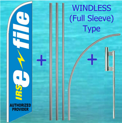 Irs E-file Windless Feather Flag Pole Mount Kit Tall Income Tax Swooper Banner
