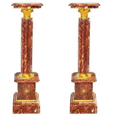 'ROUGE ROYAL' MARMORSÄULEN PAAR red marble COLUMNS, 2-er SET SÄULEN roter MARMOR