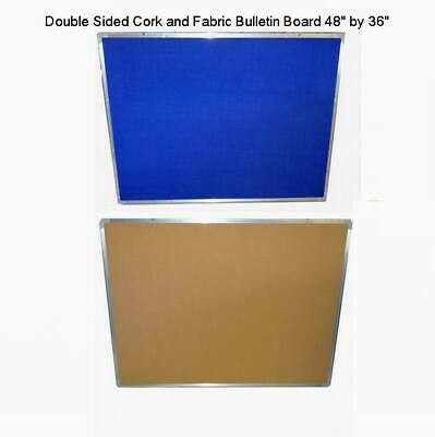 Double Sided Corkfabric Bulletin Board 48 X 36 With Aluminum Frame