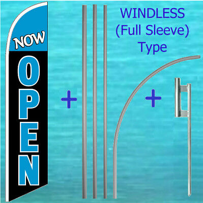 Now Open Windless Banner Flag Pole Mount Kit Tall Advertising Feather Swooper