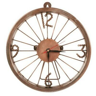 Fairtrade Bicycle Wheel Clock with bike chain link numbers wall mounted or free