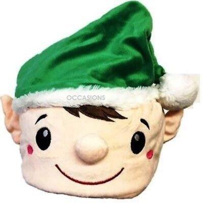 Luxus Grün Plüsch Elf Hut Weihnachtsmann-Helfer Verkleidung Kostümparty