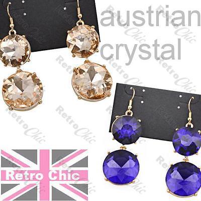Big Sparkle Austrian Crystal Earrings (AMAZING SPARKLE austrian crystal BIG EARRINGS heavy GLASS rhinestone BLUE/GOLD )