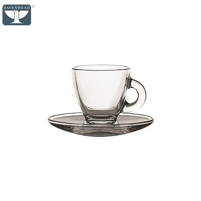 Revenhead Espresso Cup And Saucer, Set Of 2, Clear Tea Coffee Kitchen Home New