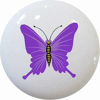 Purple BUTTERFLY Cabinet DRAWER Pull KNOB - Butterfly Drawer Pull Knob