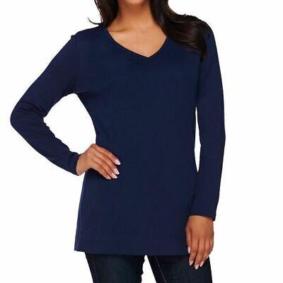 Liz Claiborne New York Essentials Size 2X Navy Long Sleeve V